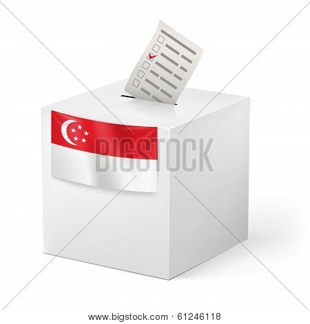 Ballot box with voting paper. Singapore