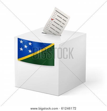 Ballot box with voting paper. Solomon Islands
