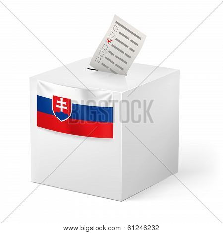 Ballot box with voting paper. Slovakia