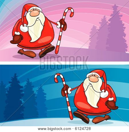 santa claus with christmas cane greeting card
