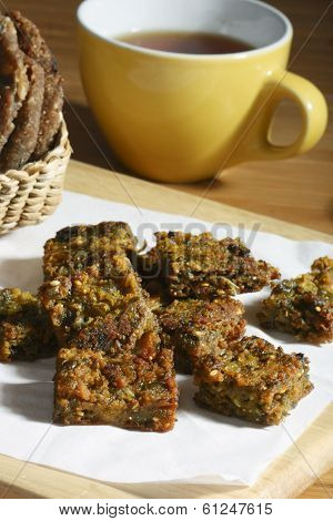 Kothimbir Vadi is a starter snack from maharashtra