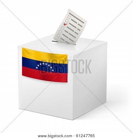 Ballot box with voting paper. Venezuela