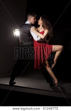 Man and woman in the most romantic dance tango