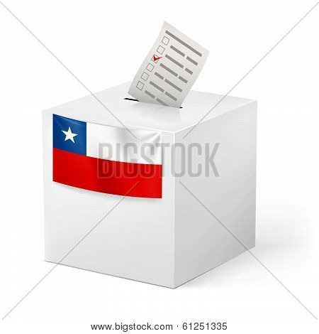 Ballot box with voting paper. Chile