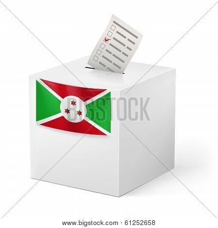 Ballot box with voting paper. Burundi