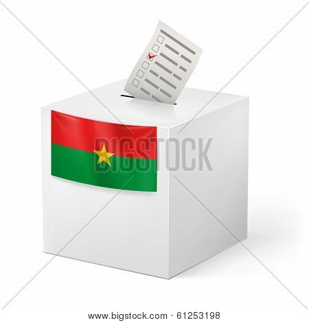 Ballot box with voting paper. Burkina Faso