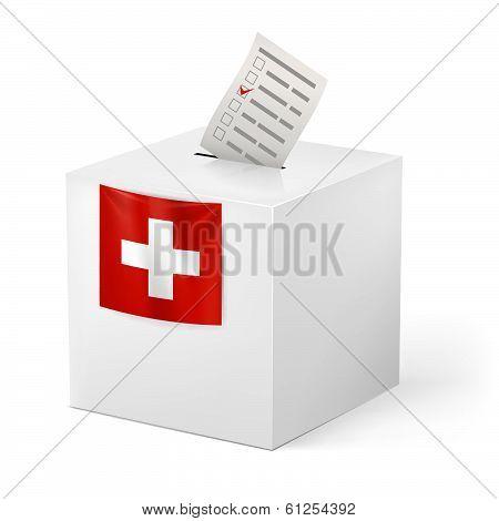 Ballot box with voicing paper. Switzerland