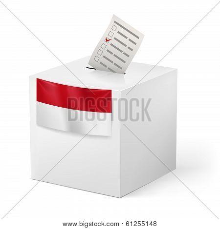 Ballot box with voicing paper. Monaco