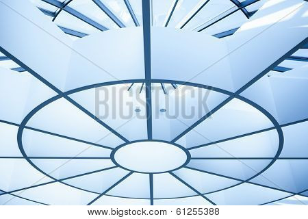 Modern circle ceiling in blue horizontal view