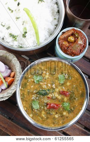Palak tuvar dal with rice from India