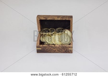 Small Wooden Box Filled With Gold Coins