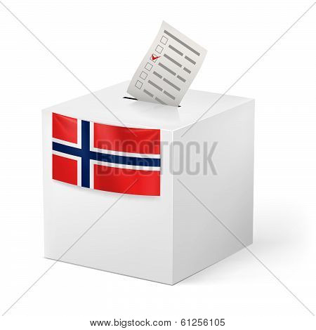 Ballot box with voicing paper. Norway