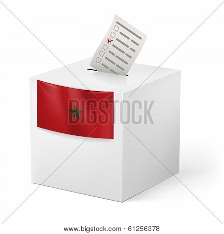 Ballot box with voicing paper. Morocco