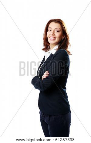 Smiling businesswoman with arms folded looking away isolated on a white background