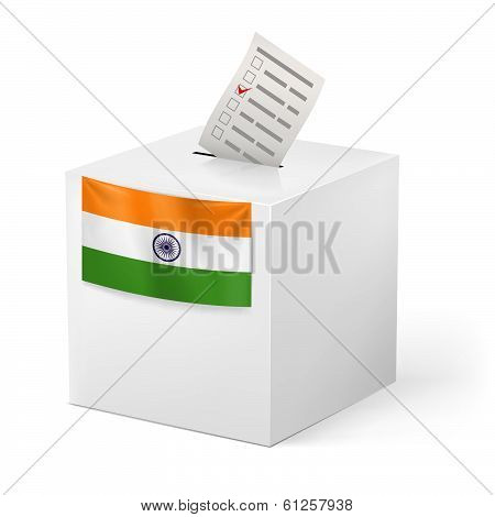 Ballot box with voicing paper. India