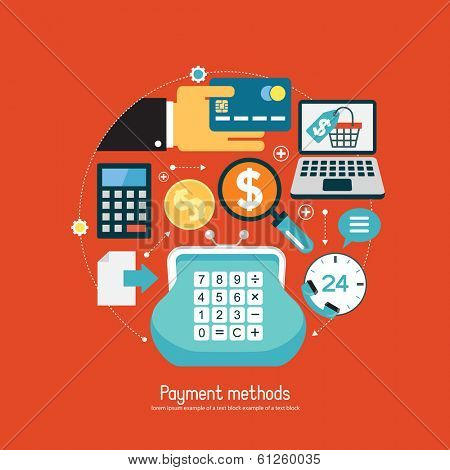 Concept payment methods. Set of modern design icons in flat design with trendy colors for web and apps. E-commerce background