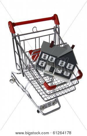 Shopping cart with doll house inside on white background