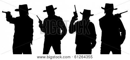 Silhouettes of cowboy with a gun in a stetson isolated on white.