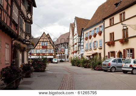 A Scenic View In Eguisheim Village In France