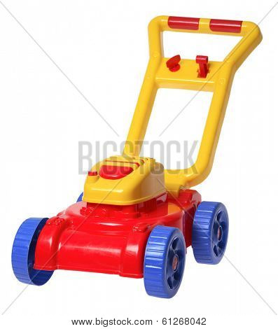 child's toy lawnmower on white