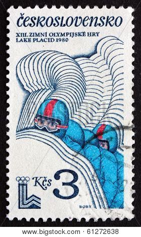 Postage Stamp Czechoslovakia 1980 Four-man Bobsled