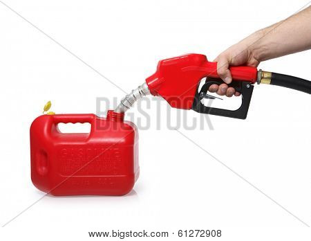 filling up portable gas tank with red nozzle on white