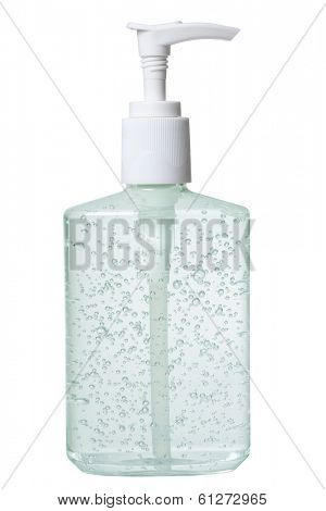antibacterial soap in dispenser on white