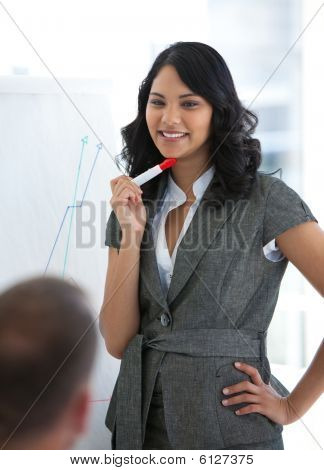 Young Businesswoman Explaining The Stock Market