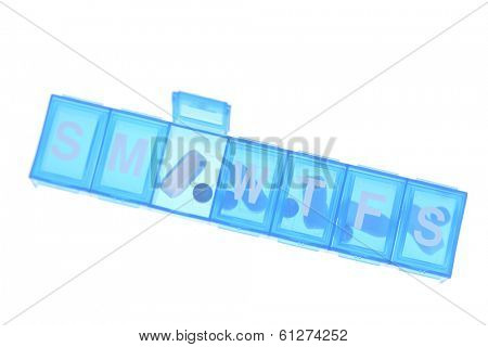 daily prescription reminder organizer in blue on white background