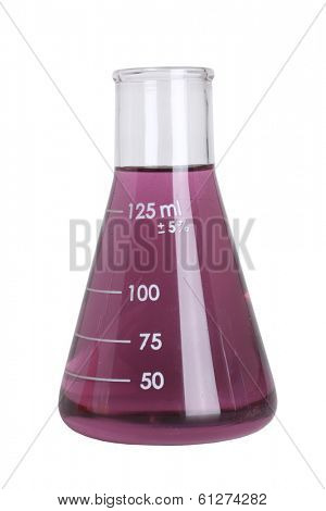 Science beaker with colored liquid cut out on white background