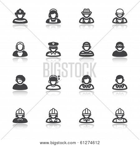 People Flat Icons With Reflection. Occupations And Roles