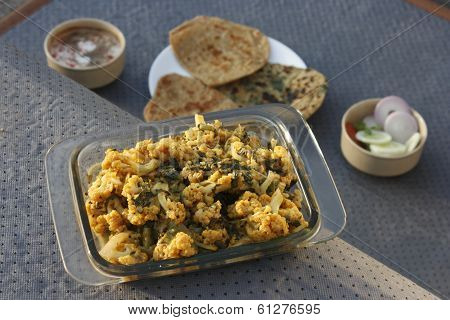 Cauliflower and Spinach subzi from India