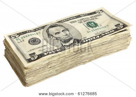 Stack of 5 Dollar Bills