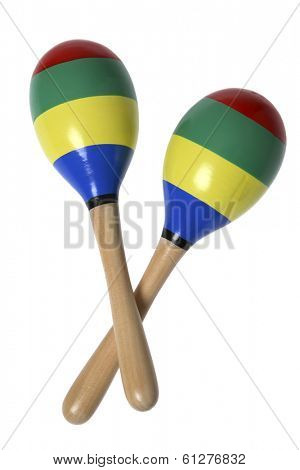Colored maracas on white background