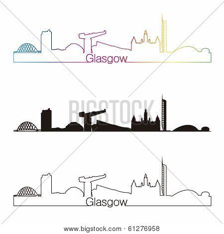 Glasgow Skyline Linear Style With Rainbow