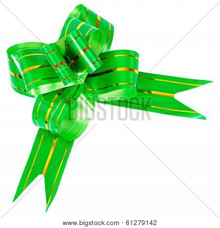 Bow Made From Green Ribbon Isolated