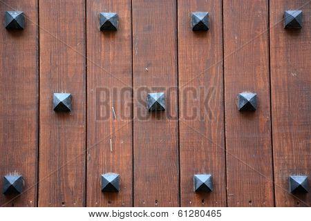 Ancient Door Background With Metal Decorative Elements