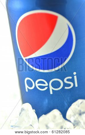Pepsi drink in a can isolated on white background