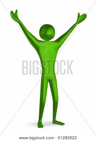 Green Triumphant 3D Man