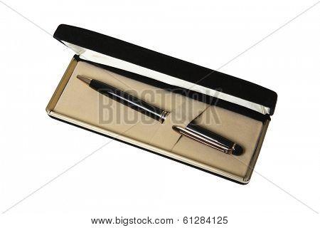 pen in black case on white