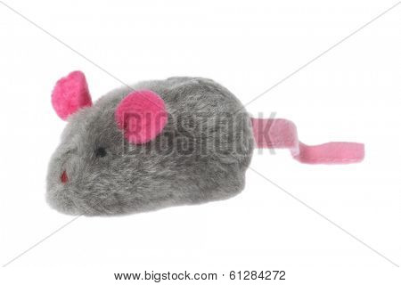 toy mouse with pink ears and tail on white