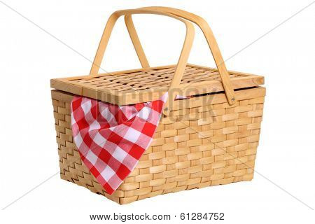 Picnic basket cutout on white background