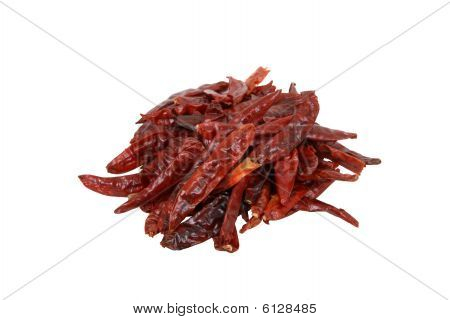 Dried Chillis On White Background