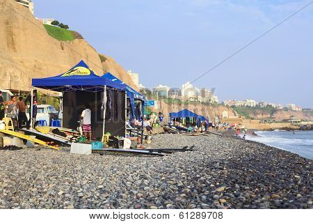 Surf School on Coast of Lima, Peru