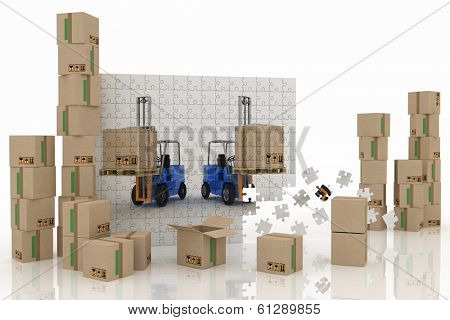 Image of two loaders on a plane from puzzle with cargo boxes on a white background