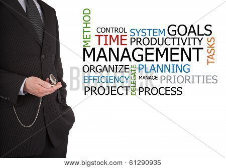 Businessman Next To Time Management Word Cloud