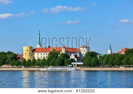 View of Riga Castle over Daugava river. Riga, Latvia