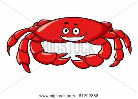 Colorful red cartoon crab