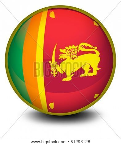 Illustration of a ball with the flag of SriLanka on a white background