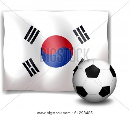 Illustration of a soccer ball in front of the Korean flag on a white background